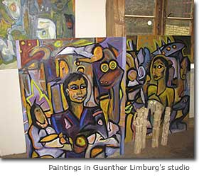 Paintings in Guenther Limburg's studio